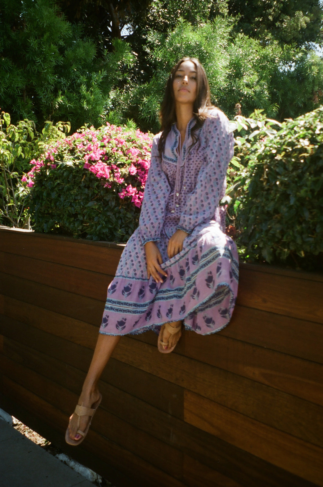 Charlotte Printed Long Dress With Long Sleeves Purple