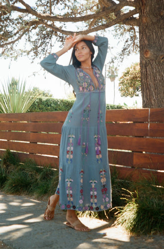 Rafaela Embroidered Long Dress Grey