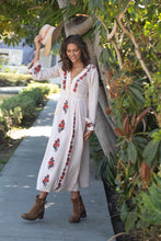 Thea Embroidered Maxi Dress Natural/Brown