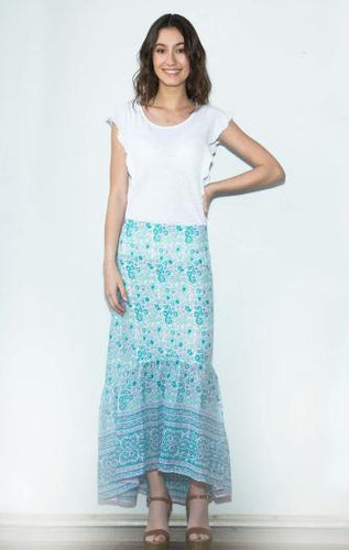 Poppy Printed Long Skirt  Aqua