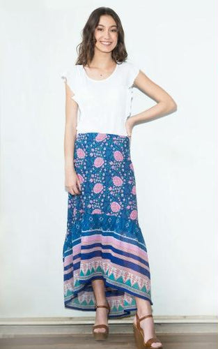 Poppy Printed Long Skirt Blue