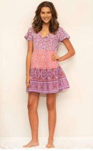 Dolly Printed Patchwork Short Dress Pink