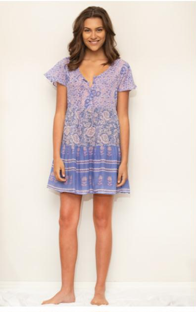 Dolly Printed Patchwork Short Dress Blue