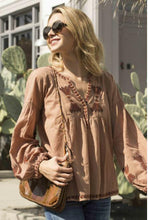 brown embroidered top bohemian style , blue boheme