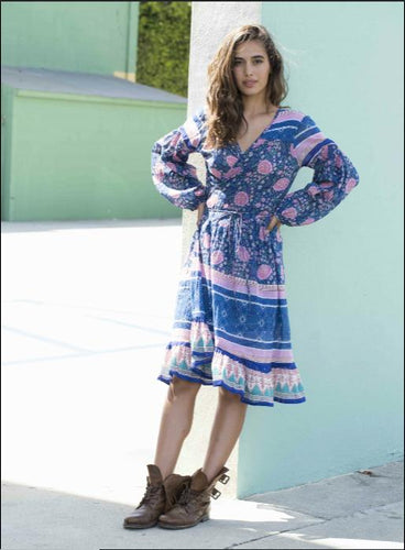 Jasmine Printed Dress or Duster Blue