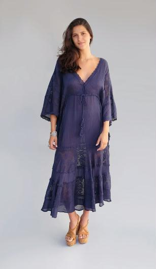 Jenny Long Dress With Lace Coal