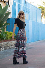 Luna Long Skirt Blue/Red