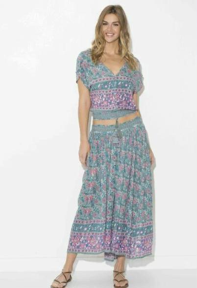 Lydia Printed Maxi Skirt Green