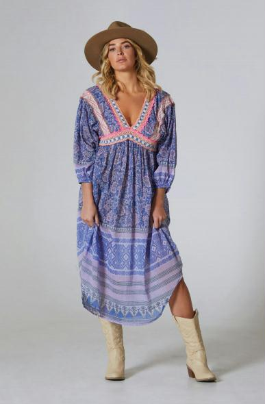 Mila Printed Long Dress Blue