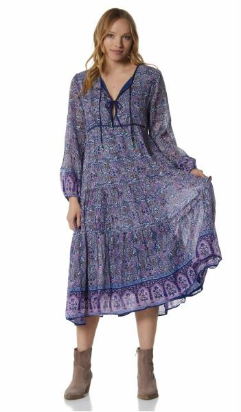 Nathalie Printed Long Dress With Long Sleeves Blue