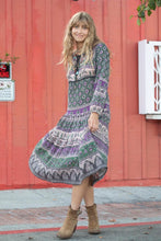 Luna  Long Dress Green/Purple