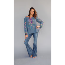 embroidered top bohemian style , blue boheme