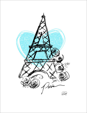 I Heart Paris with Blue Heart