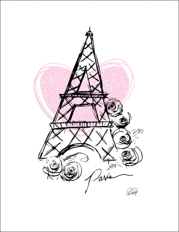 I Heart Paris with Pink Heart