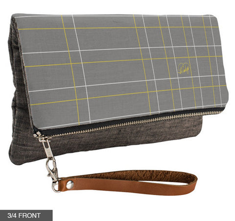 Lines Up & Down Fold-Over Clutch on Charcoal Linen