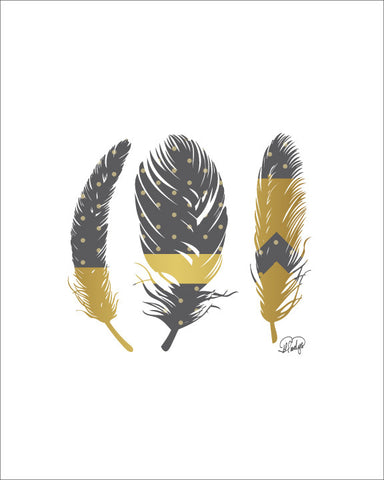 3 Feathers with Faux Gold