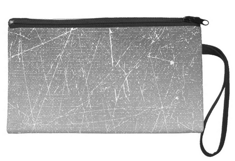 Gray Gradient with White Specks Large Wristlet