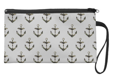 Nautical Meets Camo (Gray Background) Large Wristlet
