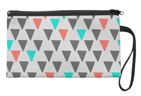 Cute Big Triangles in color Large Wristlet