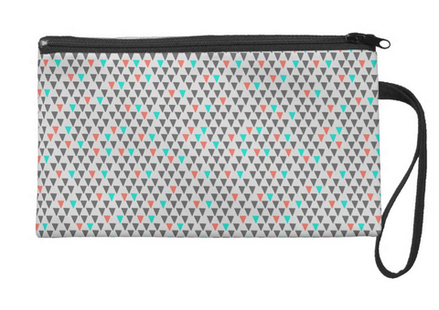 Cute Little Triangles in Color Large Wristlet