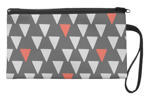 Cute Big Triangles on Dark Gray Large Wristlet