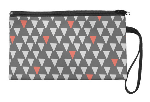 Cute Little Triangles on Gray Large Wristlet