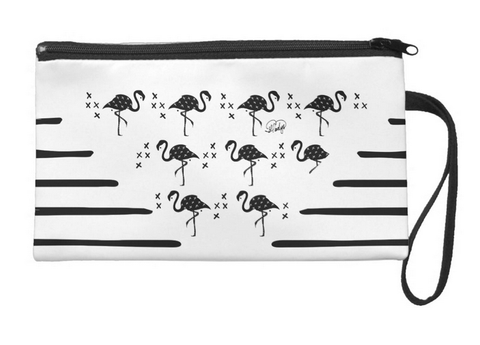 Flamingos and Lines, Oh My! Large Wristlet