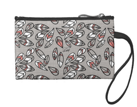 Raining Feathers Small Coin Wristlet