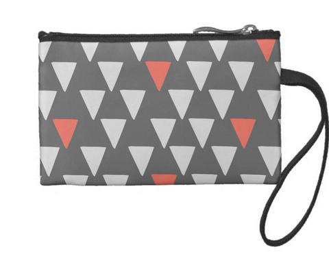 Cute Big Triangles on Dark Gray Small Coin Wristlet