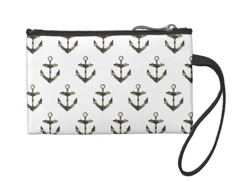 Nautical Meets Camo Small Coin Wristlet