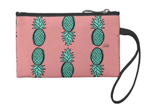 Pineapple-licious (Pink & Teal) Small Coin Wristlet