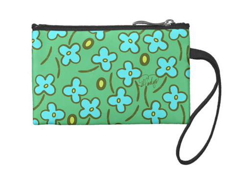 Little Blue Flowers Small Coin Wristlet