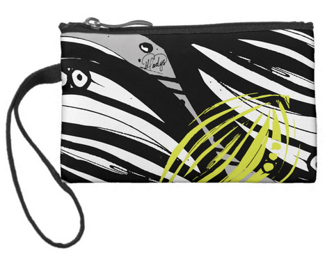 Abstract Leaf with a Hint of Color Small Coin Wristlet