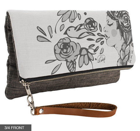 Blowing Life in Black & White Fold-Over Clutch on Charcoal Linen