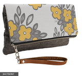 Bunch of Flowers Fold-Over Clutch on Charcoal Linen