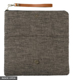 Field of Roses Fold-Over Clutch on Charcoal Linen