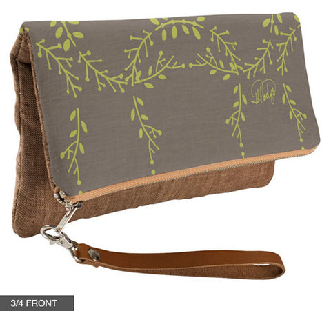 Foilage Fold-Over Clutch on Cinnamon Linen