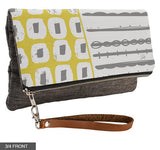 Mixture Fold-Over Clutch on Charcoal Linen