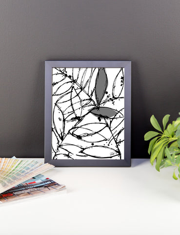 Abstract Plants in Gray Tones Framed