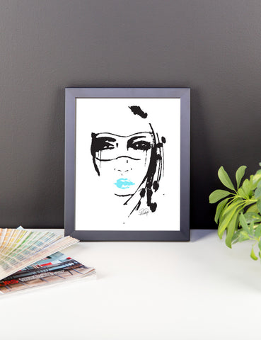 Masquerade Girl with Blue Lips Framed