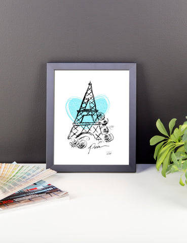 I Heart Paris with Blue Heart Framed