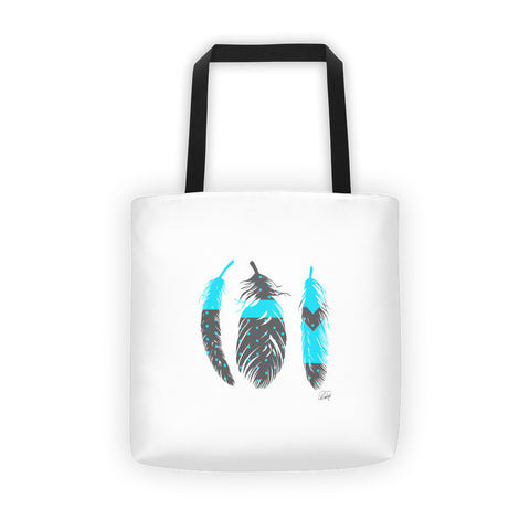 3 Feathers with a Hint of Blue on a Tote bag