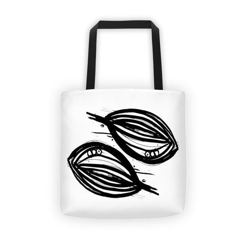 Abstract Leaf in Black & White on a Tote bag