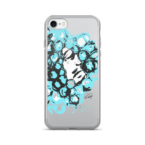 Crazy Curls in Blue on an iPhone 7/7 Plus Case