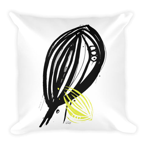 Abstract Leaf with a Hint of Color Square Pillow