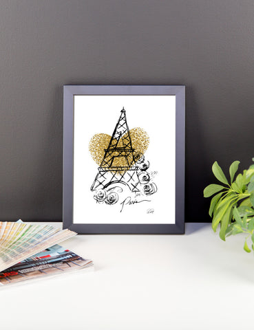 I Heart Paris with Faux Gold Heart Framed