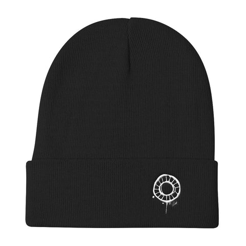 Abstract Circle (White) Knit Beanie