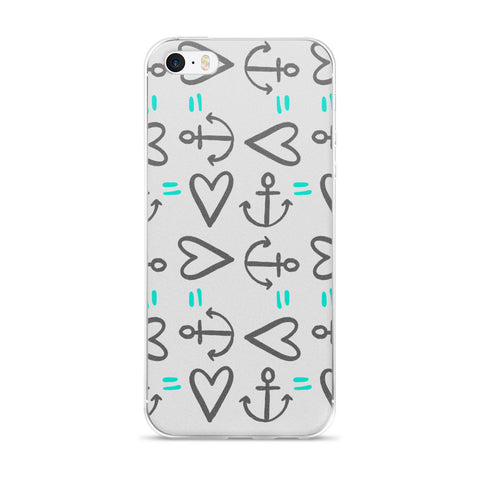 Anchor = Love on an iPhone 5/5s/Se, 6/6s, 6/6s Plus Case