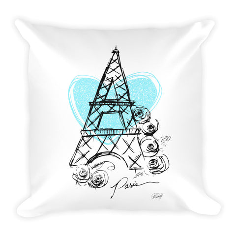 I Heart Paris with Blue Heart Square Pillow