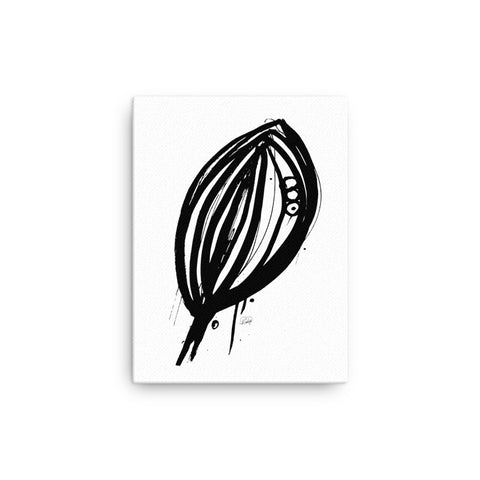 Abstract Leaf in Black & White on Canvas
